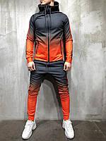 Крутой мужской осенне-весенний спортивный костюм 2Y Premium черный с оранжевым