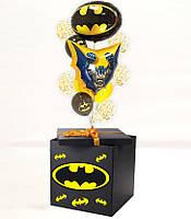 """Коробка сюрприз с гелиевыми шарами в стиле """"Бетмен"""" + Наклейки + композиция из шаров+декор"""