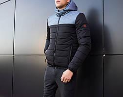 Мужская куртка Rise Pobedov (черная с серой вставкой), фото 2