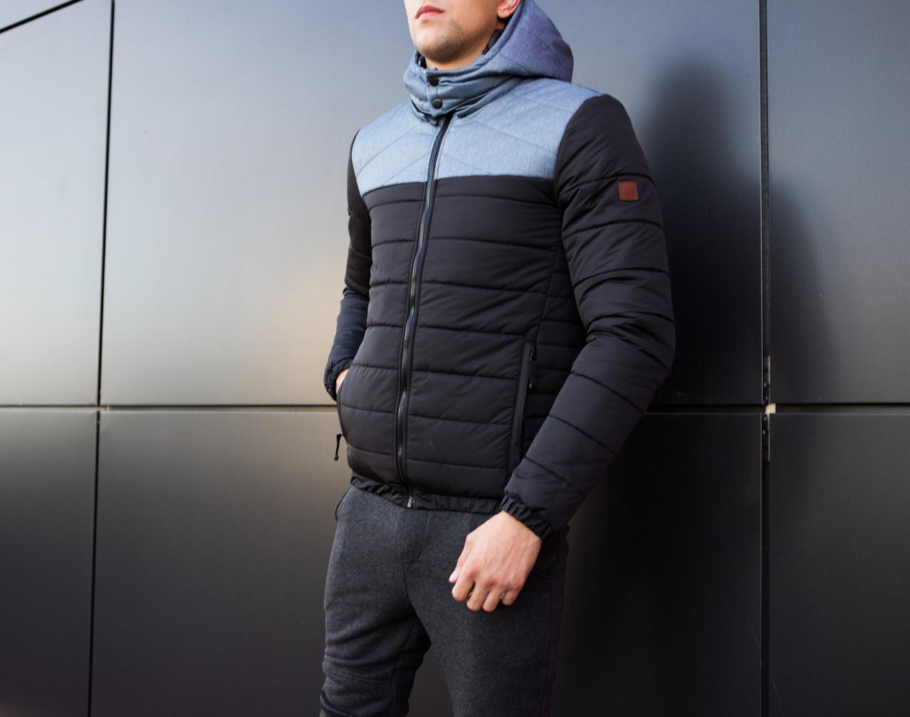 Мужская куртка Rise Pobedov (черная с серой вставкой) - фото 2