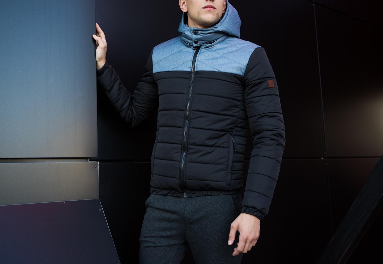 Мужская куртка Rise Pobedov (черная с серой вставкой) - фото 4