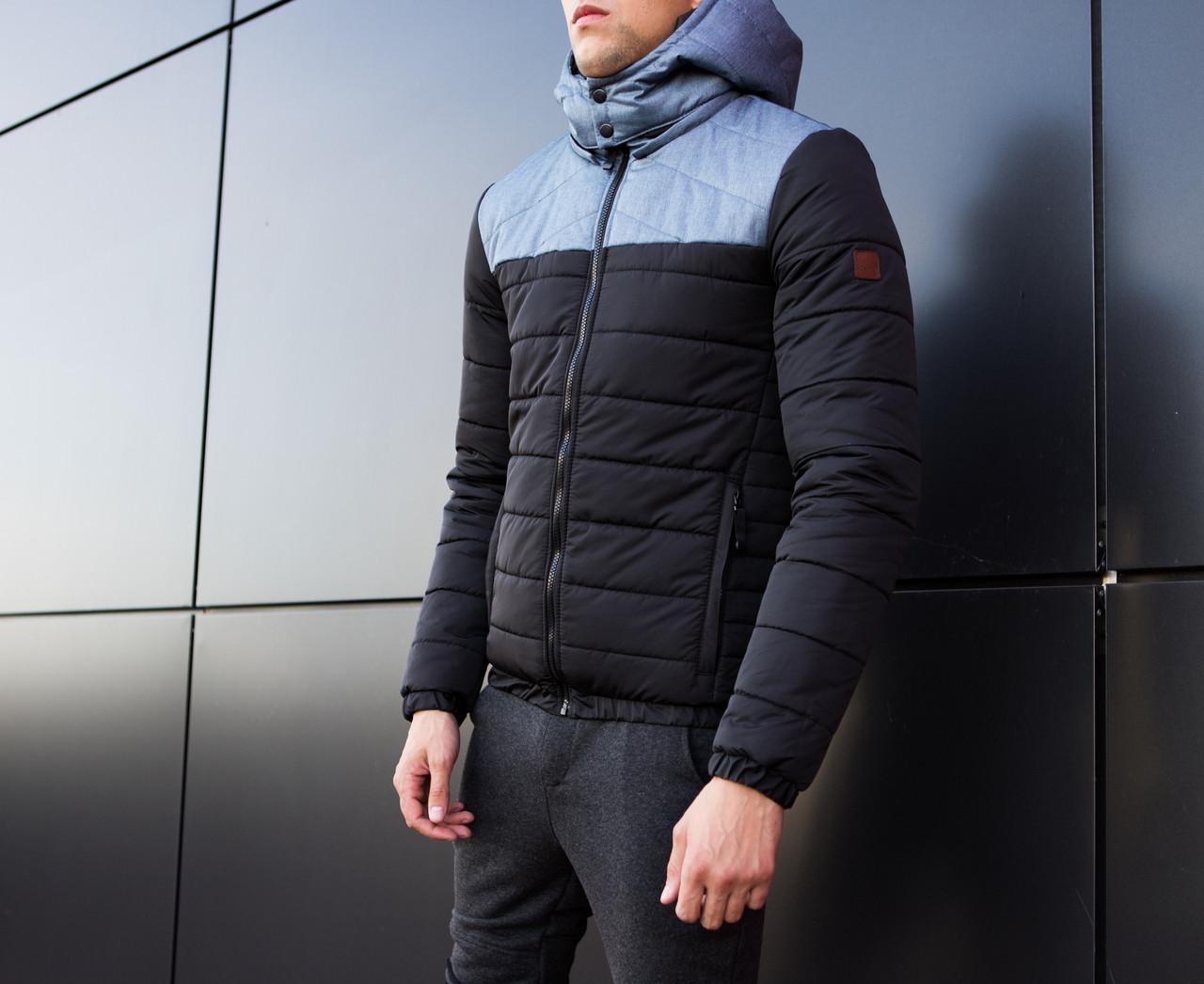 Мужская куртка Rise Pobedov (черная с серой вставкой) - фото 5