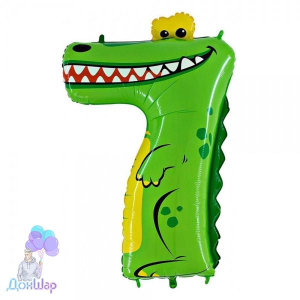 "Шар Цифра 7, 40"" (91х62 см) Крокодил, Grabo (Италия)"