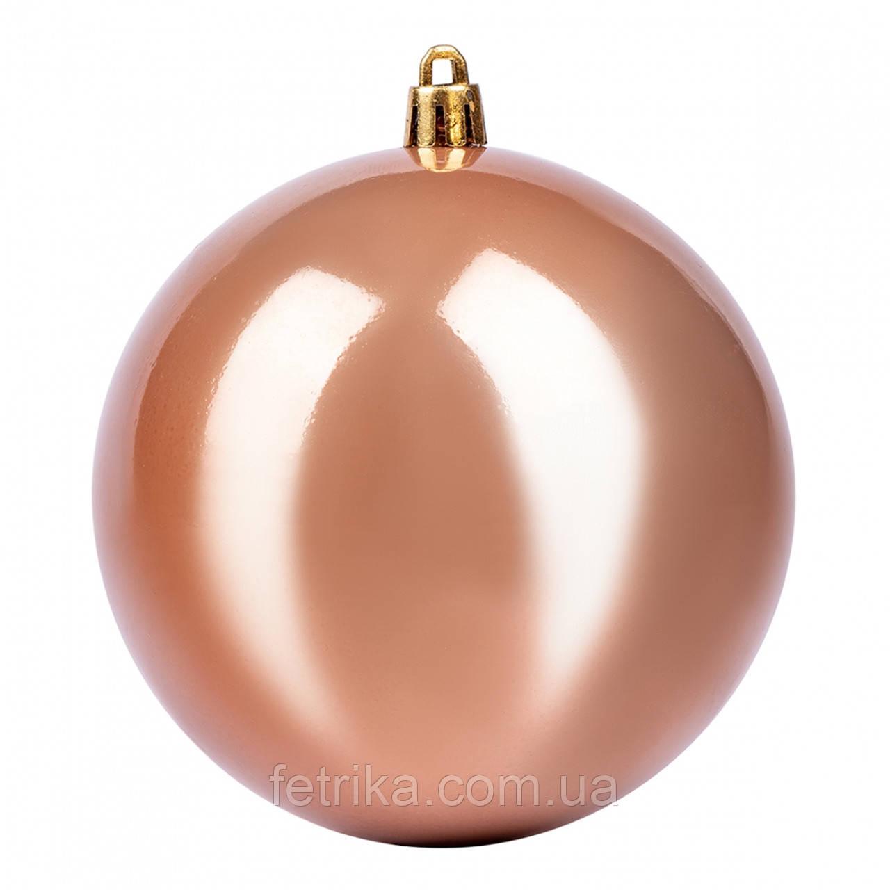 Шар елочный темно-золотой перламутровый Ø 10 см