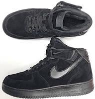 Nike Air Force 1 Mid Winter Black (мех) | кроссовки мужские; зимние; черные; замшевые; с мехом; найк