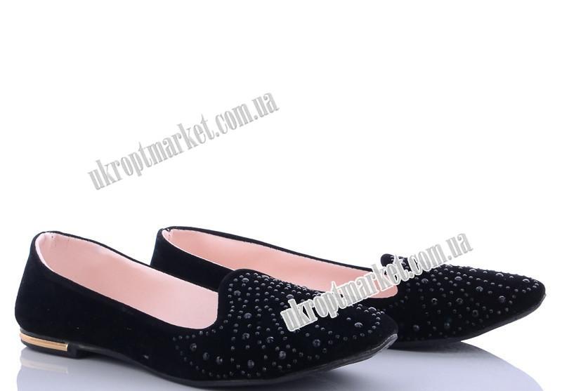 """Балетки женские 109 ч.камни кругл. (8 пар р.36-40) """"Makers Shoes"""" LB-5096"""