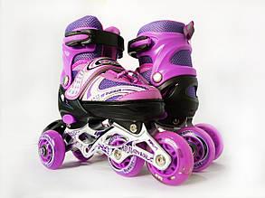 Детские ролики для начинающих размер 29-33 LikeStar фиолетовый цвет Y1