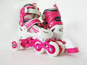Детские ролики для начинающих размер 29-33 и 34-37 LikeStar розовый цвет