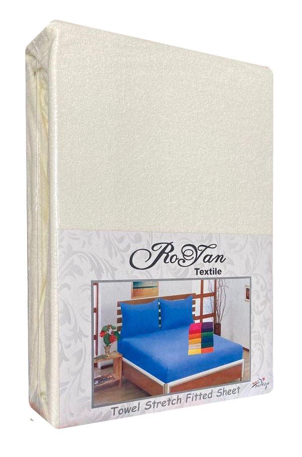 Махровый комплект на резинке Royan в силиконовой упаковке Молочный 160*200 см