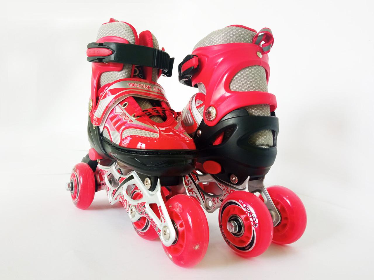 Детские ролики для начинающих размер 29-33 и  34-37 LikeStar красный цвет Y1