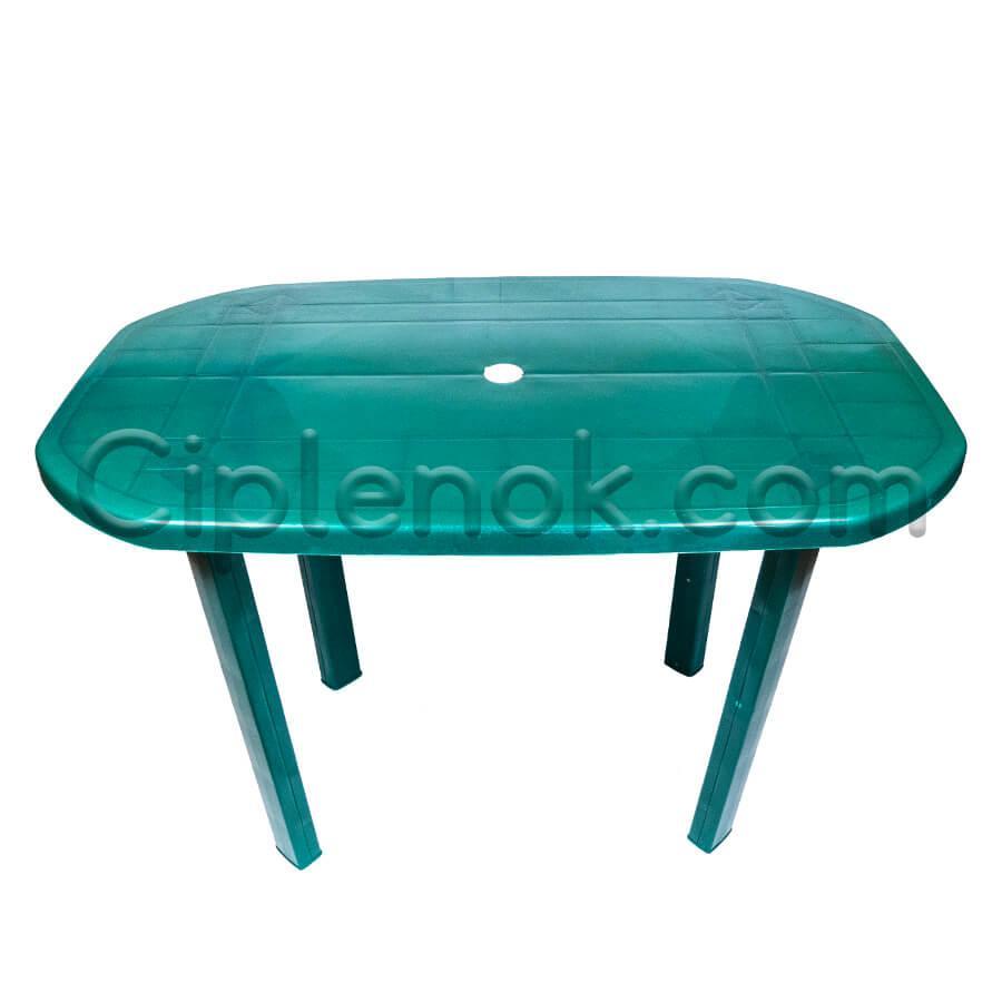 Пластиковый овальный стол (зеленый)