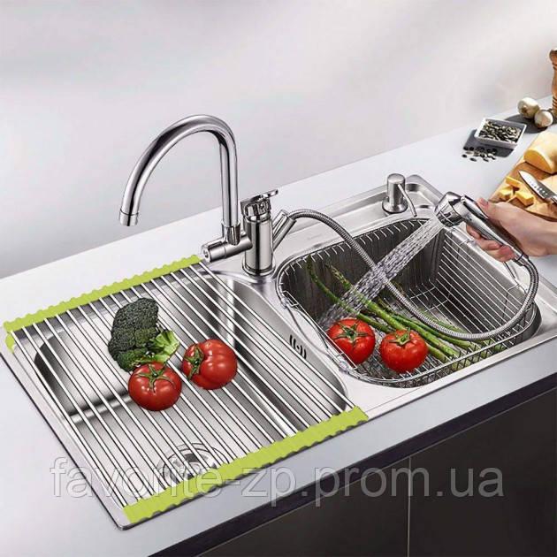 Складная сушилка решетка на раковину полка для сушки посуды и овощей