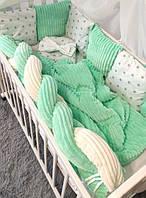 Комплект детского постельного белья в кроватку с бортиками из подушек и косичкой 100% Хлопок