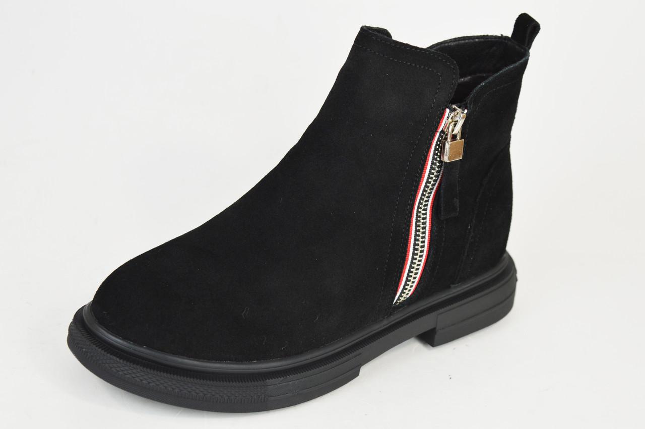 Ботинки замшевые V.I.konty 20209 черные байка 40