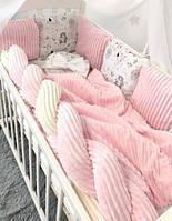 Детское постельное белье в кроватку с бортиками из подушек и косичкой 100% Хлопок