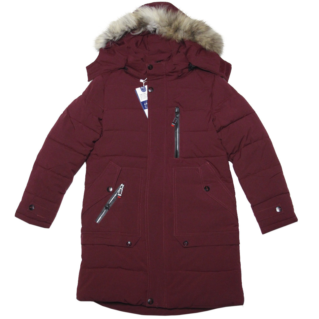 Стильная зимняя удлиненная куртка с капюшоном для мальчика 140 рост бордовая