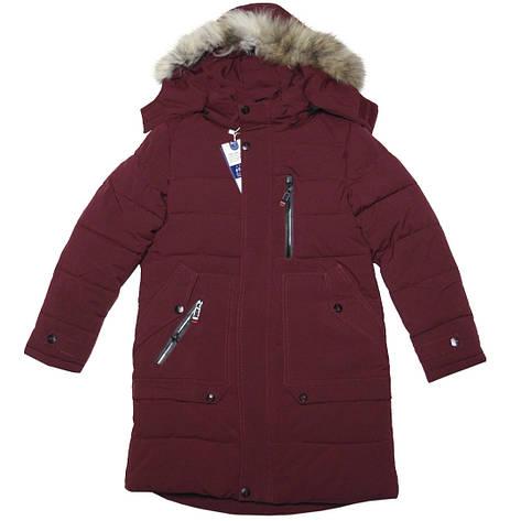 Стильная зимняя удлиненная куртка с капюшоном для мальчика 140 рост бордовая, фото 2