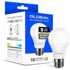 Світлодіодна Лампочка Global Led 1-GBL-261 А60 8W 3000K 220V E27 AL