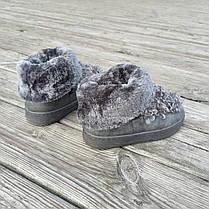 Сірі Унти Уггі черевики КОРОТКІ каракуль з хутром нагорі зимові на платформі, фото 3
