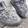 Сірі Унти Уггі черевики КОРОТКІ каракуль з хутром нагорі зимові на платформі, фото 5