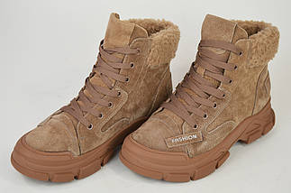 Ботинки темно-бежевые V.I.konty 20207 Кожа Мех осень-зима 38, фото 2