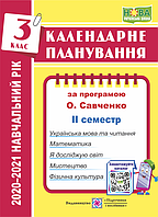 Календарне планування. 3 клас. 2 семестр. (До програми Савченко О.). 2020 - 2021р. НУШ.