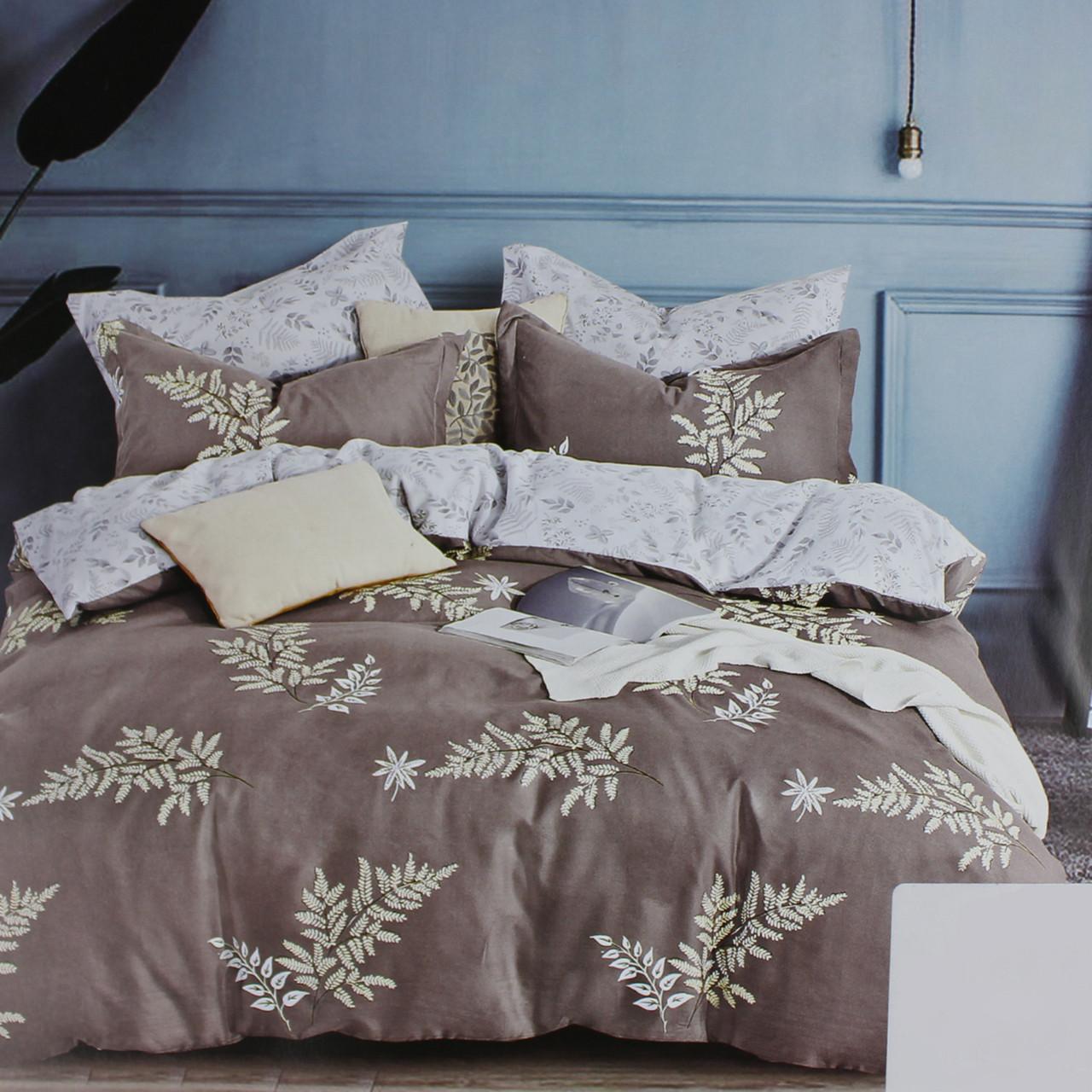 Комплект постельного белья сатин коричневый Листочки Koloco