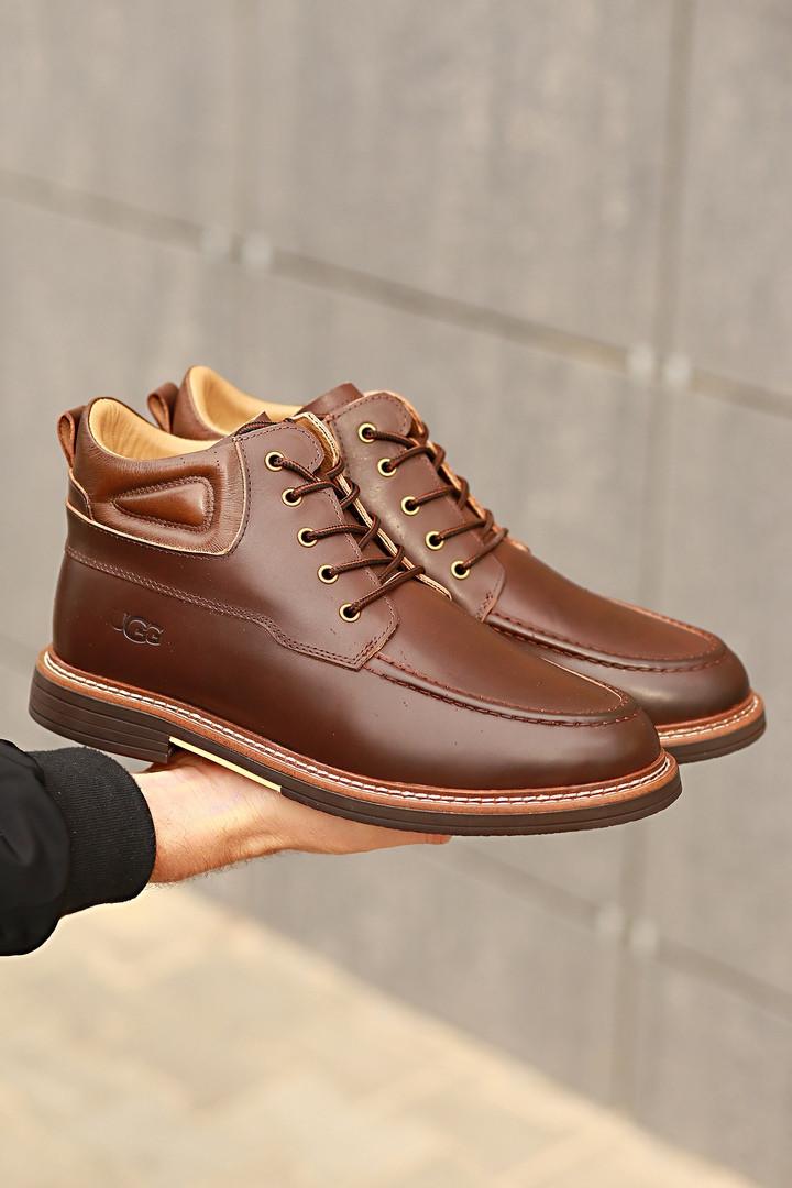 """Зимние ботинки с мехом UGG Australia Leather Boot Brown """"Коричневые"""""""