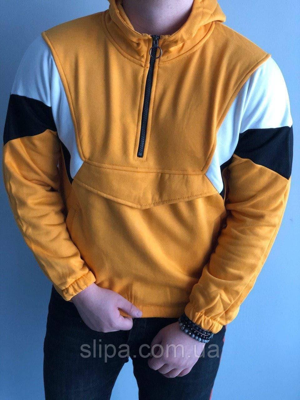 Мужская кофта с капюшоном на флисе с половинной молнией жёлтая