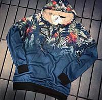 """Чоловіча кофта синя з принтом """"Листя"""" на тонкому флісі ( Туреччина )"""