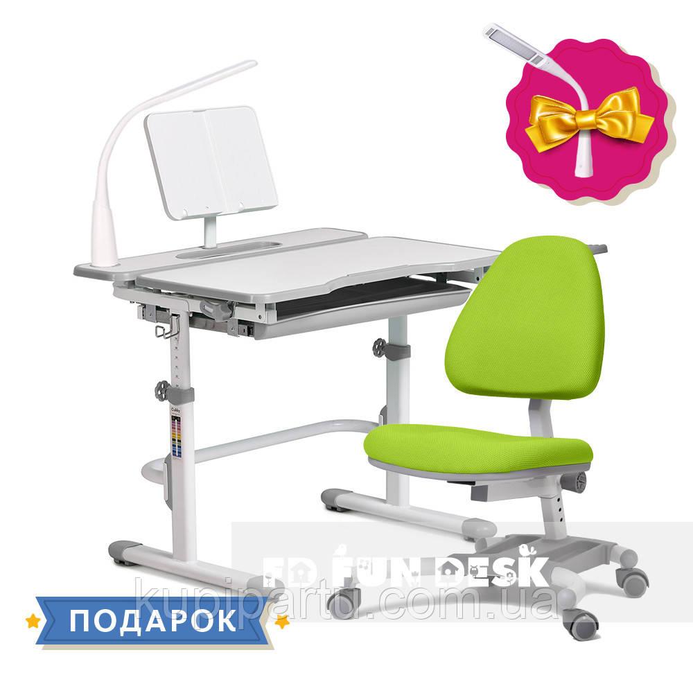 Комплект для школьника растущая парта Cubby Fressia Grey + кресло для дома FunDesk Ottimo Green