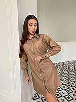 Шикарное кожаное платье-рубашка на кнопках, фото 1