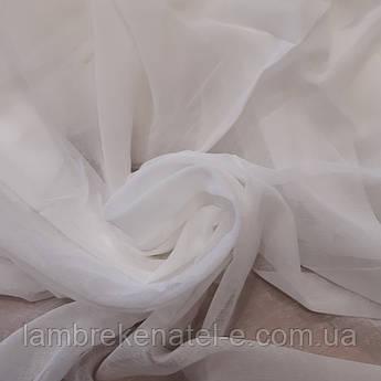 Тюль в зал спальню облегченный лен цвет белый однотонный