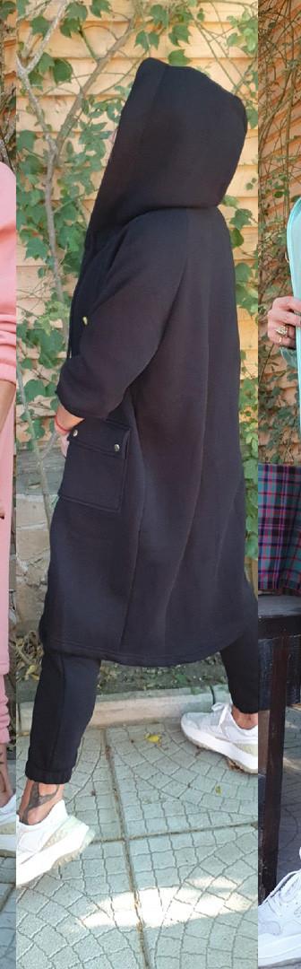 Женский спортивный костюм, трехнить на флисе, р-р универсальный С-М-Л: ХЛ-ХХЛ (чёрный)