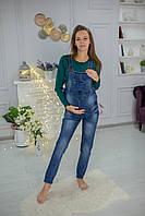 В3313-1 Джинсовый комбинезон беременным Синий
