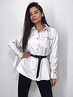 Женская кожаная рубашка Oversize, фото 1