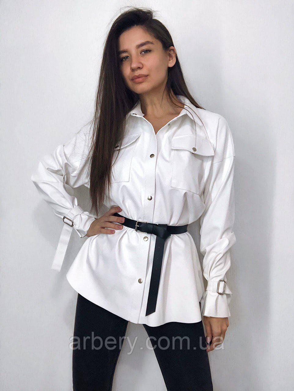 Женская кожаная рубашка Oversize