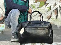 Мужская черная сумка из натуральной кожи David Jones, фото 1