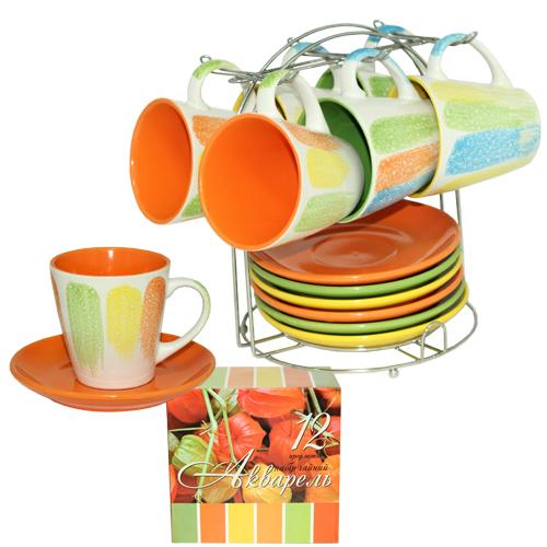 Сервиз чайный 12 предметов на стойке 'Акварель' (чашка-230мл, блюдце-15)
