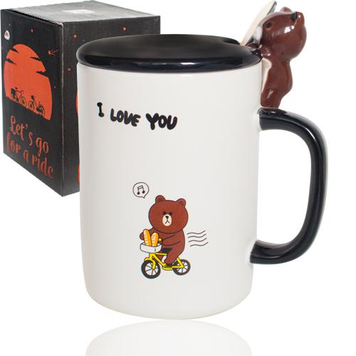 Чашка с крышкой и ложкой 360мл Happy Bear