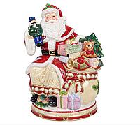 """Банка для сыпучих продуктов, керамическая с крышкой """"Санта клаус"""", размер 30х20х25см"""