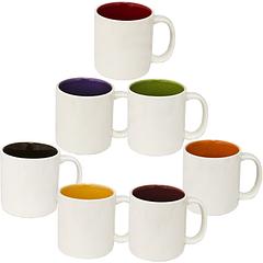 Чашка Кавова мікс 100мл варіант від 1 до 7 кол. біла зовні