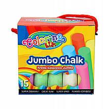 Крейда безпильова кольорова JUMBO 15шт в картон. відерці COLORINO //
