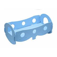 Кроватка для кукол Голубая с постельным бельем (К055Б)