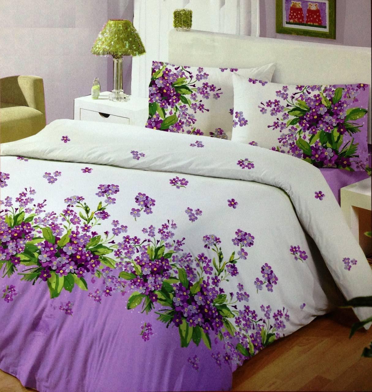Цветочное постельное белье полуторка, сирень