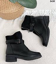Зимние ботинки  женские на каблуке спереди молния, фото 3
