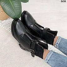 Зимние ботинки  женские на каблуке спереди молния, фото 2