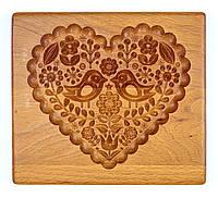 Пряничная доска деревянная Влюбленные птички размер 17*15*2см .Форма для формования пряников