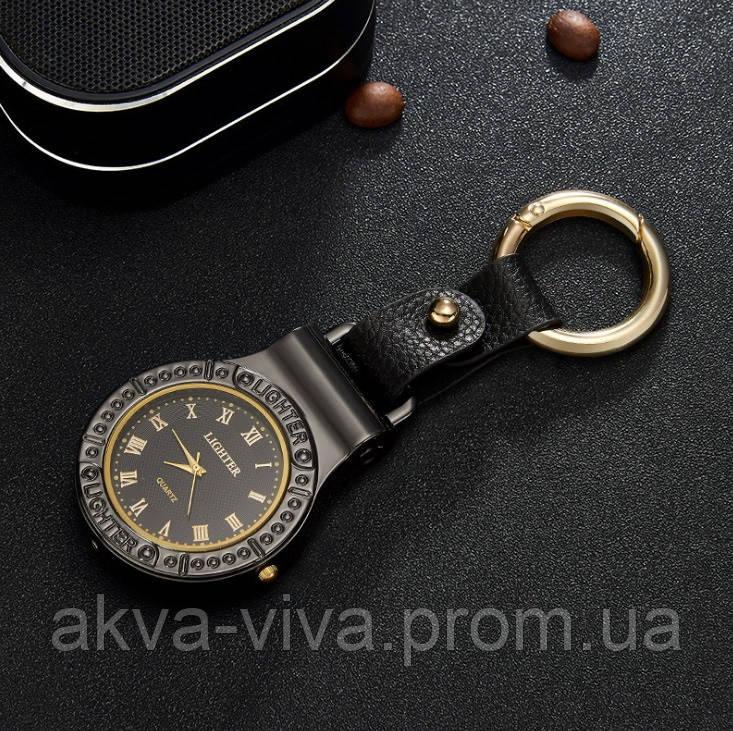 USB запальничка з годинником і ліхтариком (брелок) Чорний