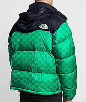 Куртка мужская зимняя The North Face xx Gucci зеленая до -30*С | пуховик мужской зимний ЛЮКС качества